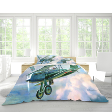 Duvet quilt cover double bed 229x259cm bedding aircraft pattern pillowcase three-piece set supports DIY pattern large
