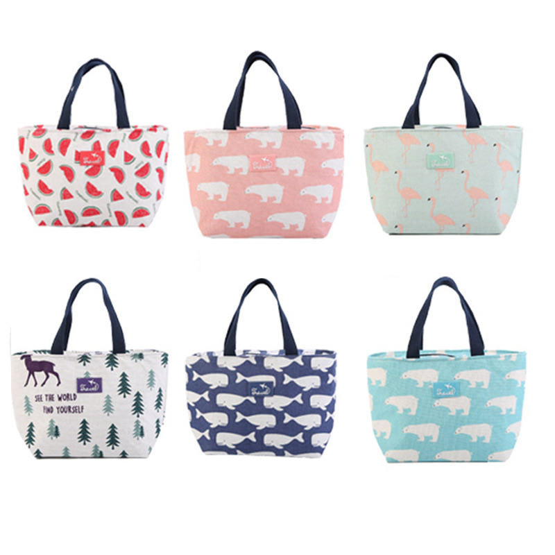 Creative Cartoon Flamingo Lunch Bag Women Cotton Insulated Tote Cooler Bag Thermal Food Picnic Ice Bag Simple Child Big Capacity