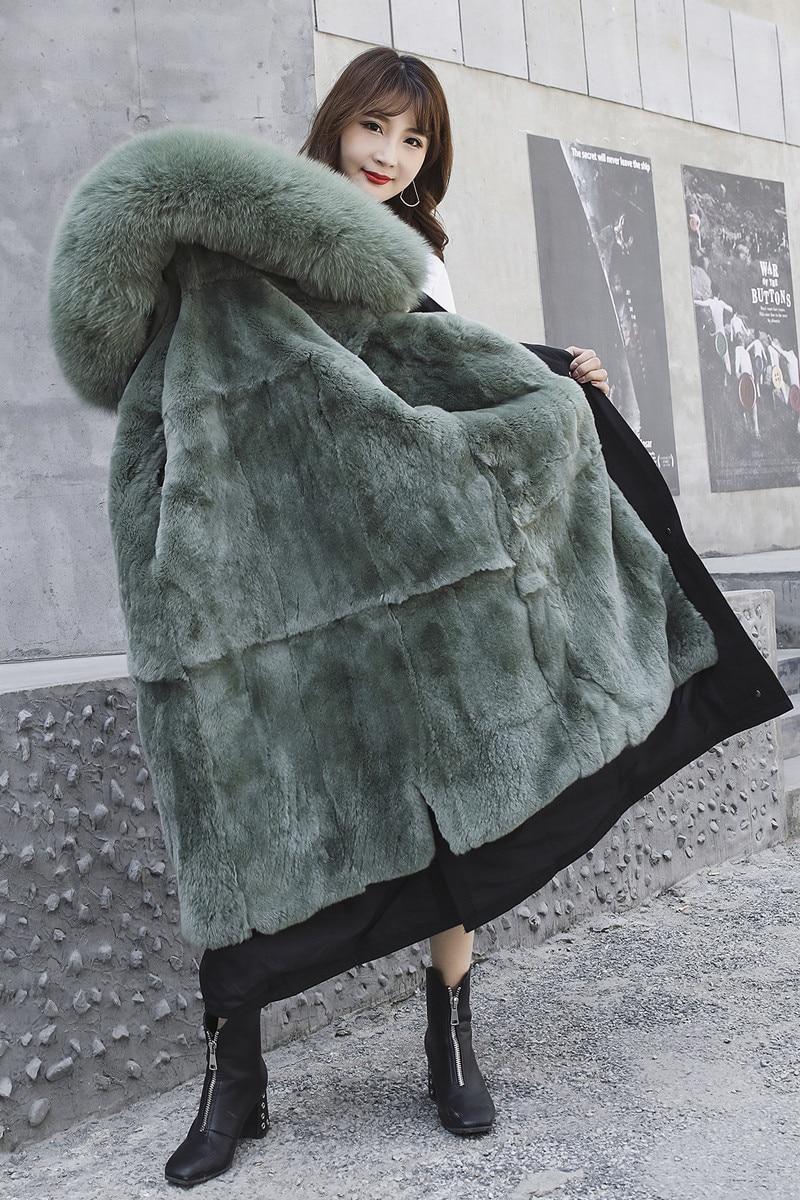 3//4 Sleeves Women Warm Jacket Real Rabbit Fur Precision Coat Long Parka Genuine