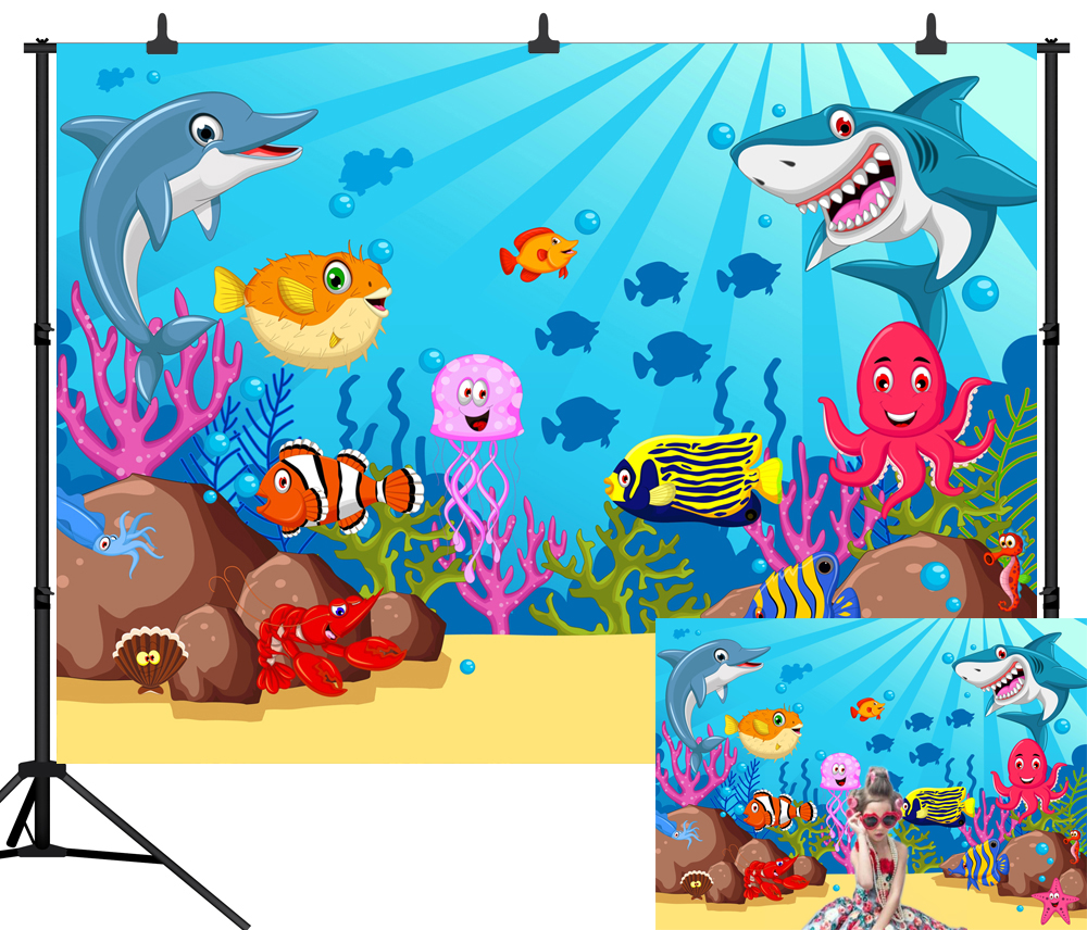 Baby Shark Birthday Party Photography Backdrops Cartoon Coral Underwater Poster Photo Background Photo Studio in Background from Consumer Electronics