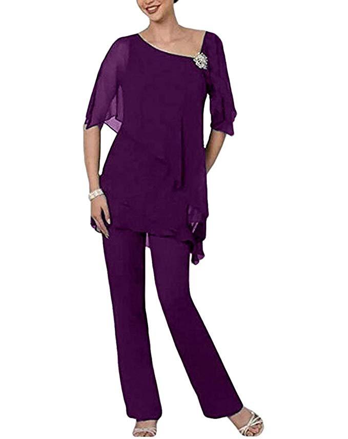 Women Elegant Blue Mint Purple Mother Of The Bride Dress Pants Suit 2 Pieces Crystal Short Sleeves For Wedding