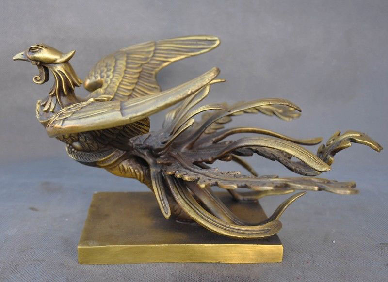 Christmas Old China Feng Shui Brass Auspicious Four God Beast One Of Phoenix Statue New Year