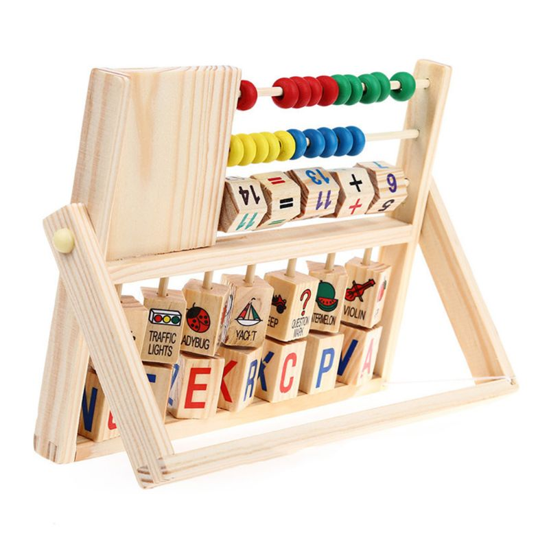 Wooden Abacus Learning Stand Kids Counting Cognition Board Educational Math Toy