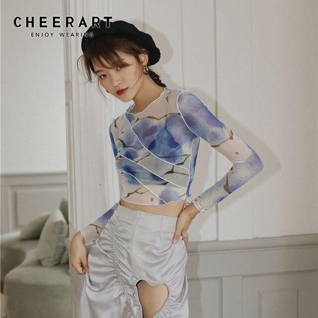 CHEERART Mesh Crop Top Long Sleeve T Shirt Women Printed Tshirt Transparent Ladies Tight Top Patchwork Summer Fashion 2020 1