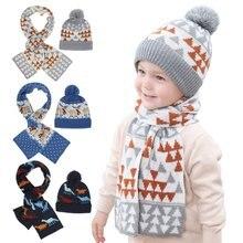 2021 новый год вязанная Рождественская шапочка и шарф набор