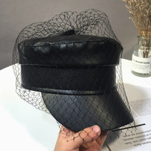 Hats Newsboy-Caps Summer Black Spring And Veil Lace PU Fashion Fmale