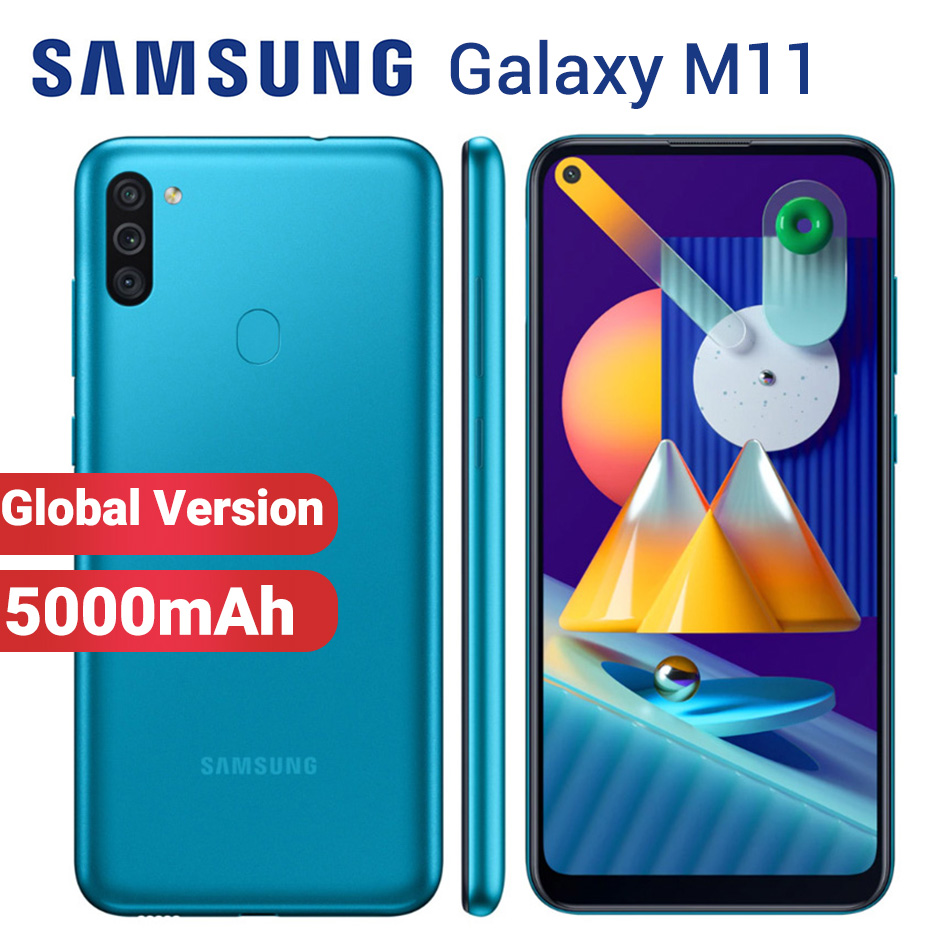 Глобальная версия смартфона Samsung Galaxy M11, мобильный телефон с двумя SIM-картами, 5000 мАч, 32 ГБ, 3 ГБ, 6,4 дюйма, Snapdragon 450, Android 10, 4G