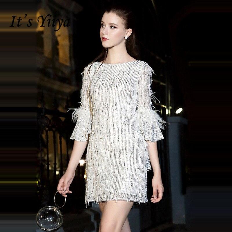 It's Yiiya Cocktail Dress Short Three Quarter Sleeve Party Dresses Plus Size Sequins Formal Dresses Tassel Robe Cocktail LF027