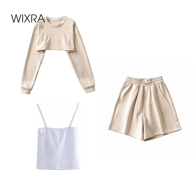 Wixra Womens Basic Short Sweatshirts Sets Cotton Street Style O Neck 2021 Spring Summer Hot Casual Pullovers Tops