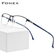 FONEX Alloy Glasses Frame Men New Male Square Light Prescription Eyeglasses Half Myopia Optical Frames Screwless Eyewear 9843