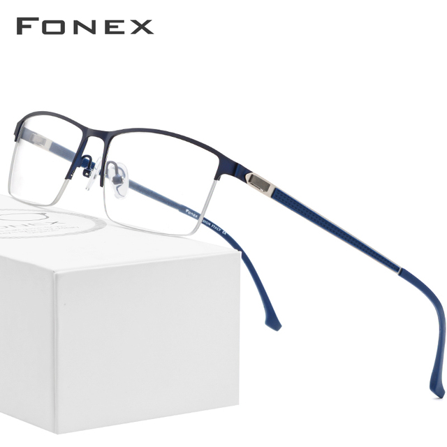 FONEX סגסוגת משקפיים מסגרת גברים חדש זכר כיכר אור מרשם משקפיים חצי קוצר ראיה אופטי מסגרות ללא בורג Eyewear 9843