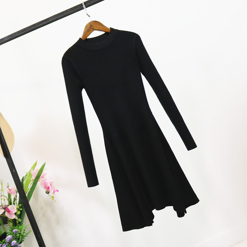 H8a50583daa4244f8adb3e541ccbc225cw - Women Long Sleeve Sweater Dress Women's Irregular Hem Casual Autumn Winter Dress Women O-neck A Line Short Mini Knitted Dresses