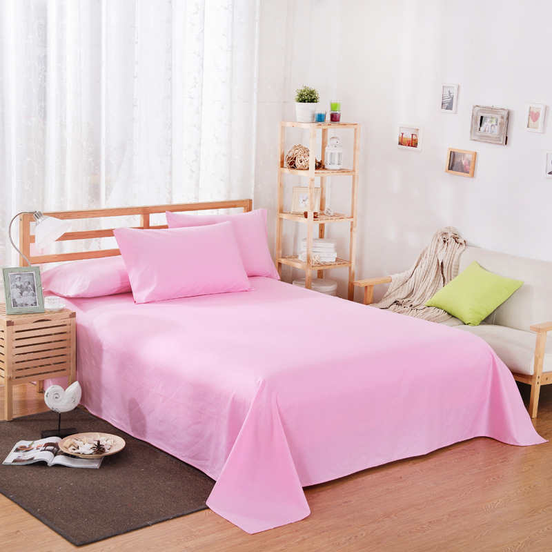 ropa de cama Solid color polyester cotton bed sheet hotel home soft brushed flat sheet queen bed cover not included pillowcase 22