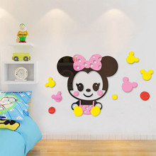 цена на 3D cartoon Mouse wall stickers mirror acrylic kids room bedroom decoration kindergarten background art wall decoration