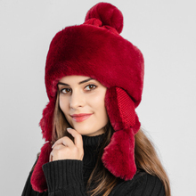 HT2730 Thick Warm Winter Hat Windproof Earflap Cap Women Rabbit Fur Hat Ladies Ski Russian Ushanka Hat Trapper Russian Cap Bomber Hat стоимость