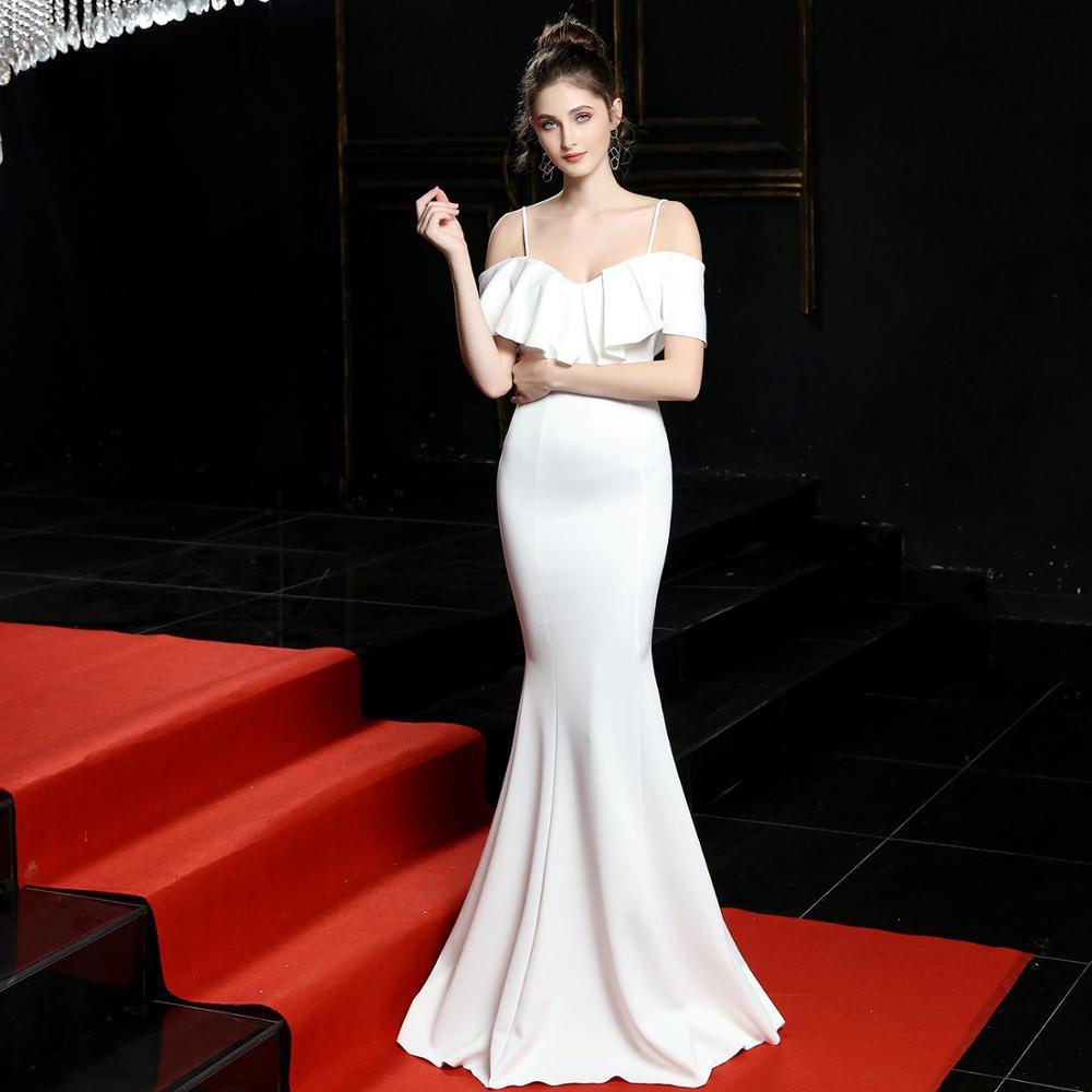 Chaude Sexy col en V volants Spaghetti sangle hors de l'épaule à manches courtes longue robe blanche élégante robes de fête de mariage pour les femmes