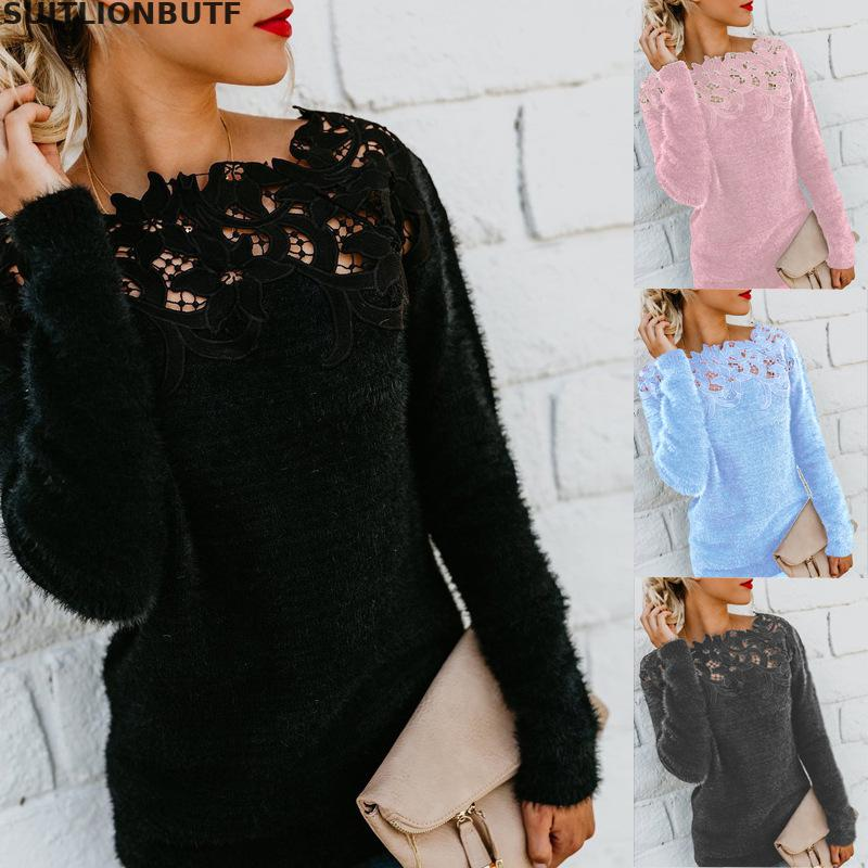 Lace Patchwork Hollow Out Ruffled Collar Oversized Pullover Sweaters Puls Size Long Sleeve Female Sweater 2019 Autumn Womens Top