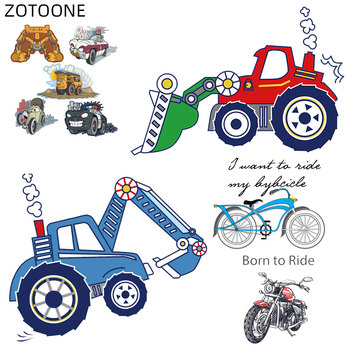 ZOTOONE Excavator Patches Iron on Motorcycle Stickers for Clothing Heat Transfers DIY Bike Car Patch for Kids Vinyl Appliques F image