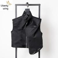 19ss Men Gothic Loose Fit Vest New Dark Black Locomotive Punk Big Side Pocket Waistcoat Sleeveless Jacket Gilet Homme