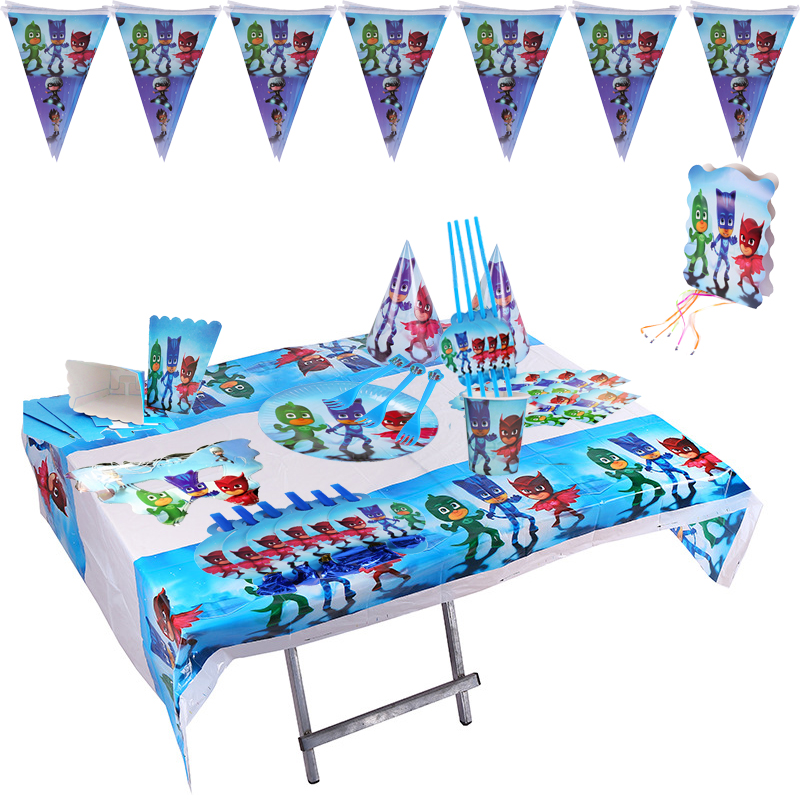 Pj Mask Cartoon Birthday Decorations Theme Party Catboy Owlette Gekko Tableware Table Cloth Supplies Toys
