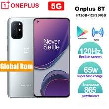 Global rom oneplus 8t smartphone 120hz fluid amoled display snapdragon 865 octa núcleo 65w urdidura carga um mais 8t telefone móvel