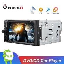 Podofo 2 딘 안드로이드 6.0 자동차 dvd 플레이어 gps 블루투스 터치 스크린 자동차 스테레오 mp3 mp4 자동차 멀티미디어 플레이어 지원 미러 링크
