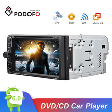 Podofo 2 Din Android 6.0 Car DVD Player GPS Bluetooth Touch Screen Car Stereo MP3 MP4 Car Multimedia Player Support Mirror Link