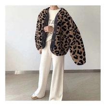Женские хлопковые куртки с леопардовым принтом Осень зима Свободные
