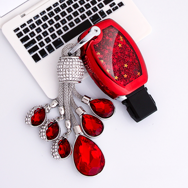 Funny Quicksand Soft TPU Key Case Cover Shell For Mercedes Benz W203 W210 W211 W124 W202 W204 AMG key Protection Crystal chain image