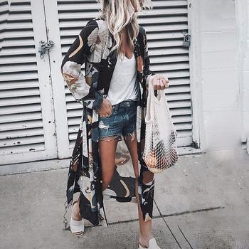 Kobiety Vintage w kwiaty szyfonowe koszule luźny szal kardigan Kimono topy w stylu Boho długi kurtka przeciwsłoneczna bluzka tanie i dobre opinie Poliester REGULAR Osób w wieku 18-35 lat Skręcić w dół kołnierz NONE Pełna Na co dzień Szyfonowa Drukuj FZA1A162