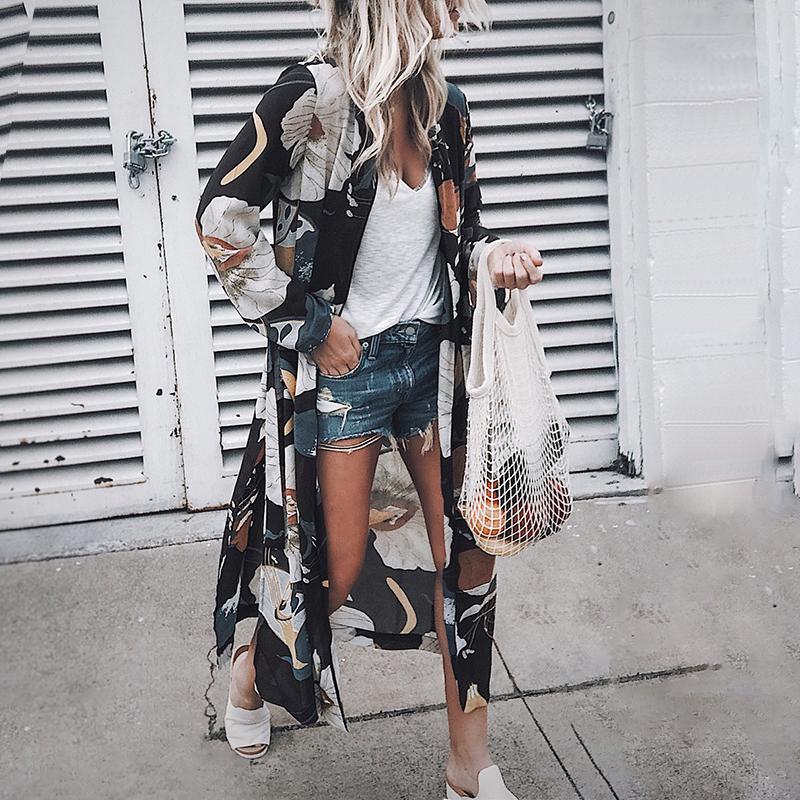 Women Vintage Floral Chiffon Shirts Loose Shawl Kimono Cardigan Boho Tops Long Sunscreen Jacket Blouse