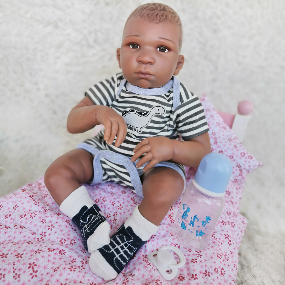 real Reborn Baby Doll Cute Girl boy Dolls African American Play house Dolls Lifelike 50cm Baby kids Christmas Gifts silicone Toy