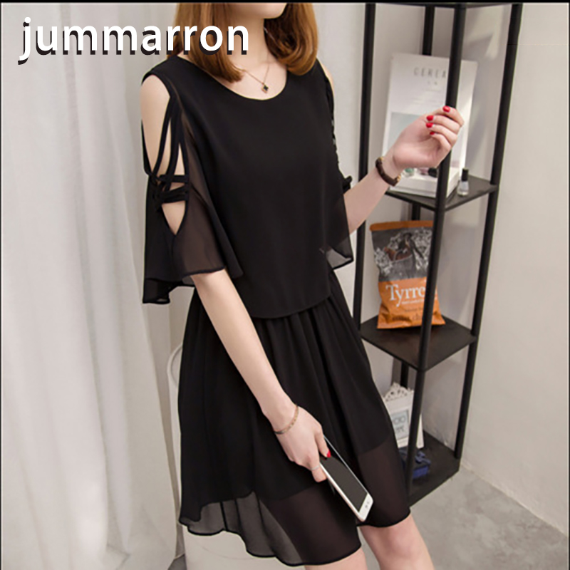 jummarron 2020 spring summer sweet Chiffon black <font><b>dress</b></font> Medium Length slim short sleeve high waist off shoulder A-line for women image