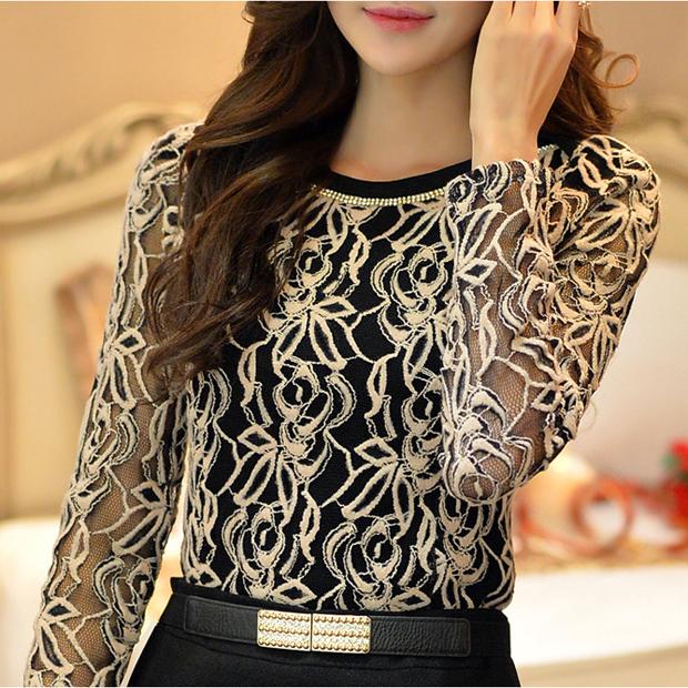 Vintage Black Long Sleeve Blouse Size Medium  Black Lace Shirt