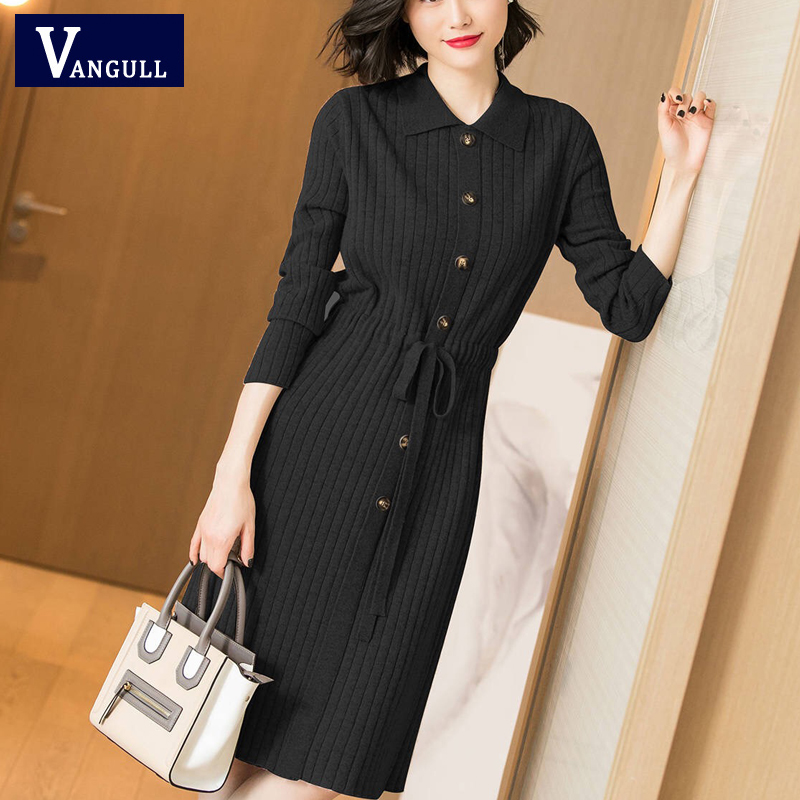 Vangull Women Knitted Dresses Solid Female Long Sleeve Dress 2019 New Autumn Winter Turn-down Collar Button Solid Slim Dresses 44