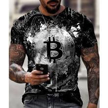 Camiseta masculina de manga curta solta bitcoin impressão 3d fino em torno do pescoço pulôver plus size casual streetwear moda t camisa para homem