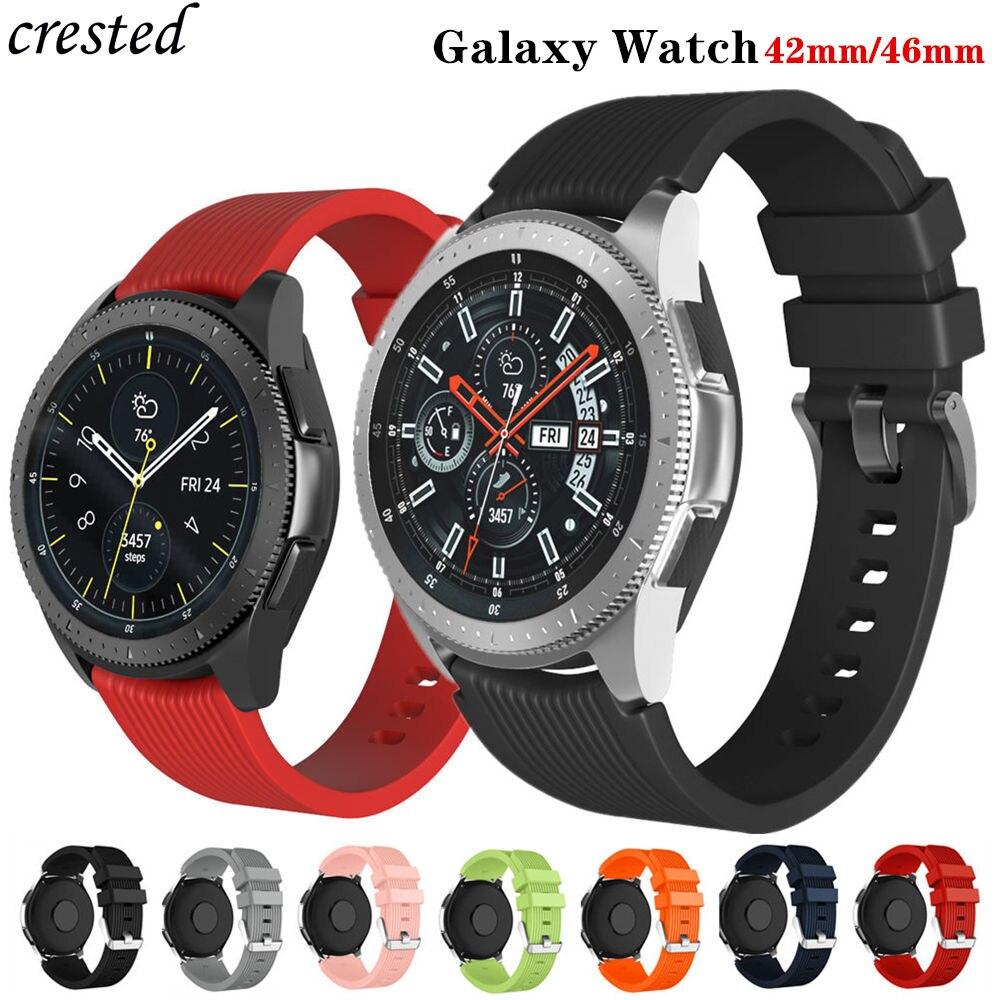 20mm/22mm pulseiras samsung galaxy watch 46mm/42mm/active 2 pulseira 20/22mm silicone pulseira engrenagem s3 fronteira/s2|Pulseira do relógio|   -