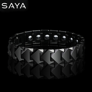 Image 1 - Tungsten Links Bracelets for Men High Polished Inlay Health Magnetic Stones Three Color, Free Shipping, Customized