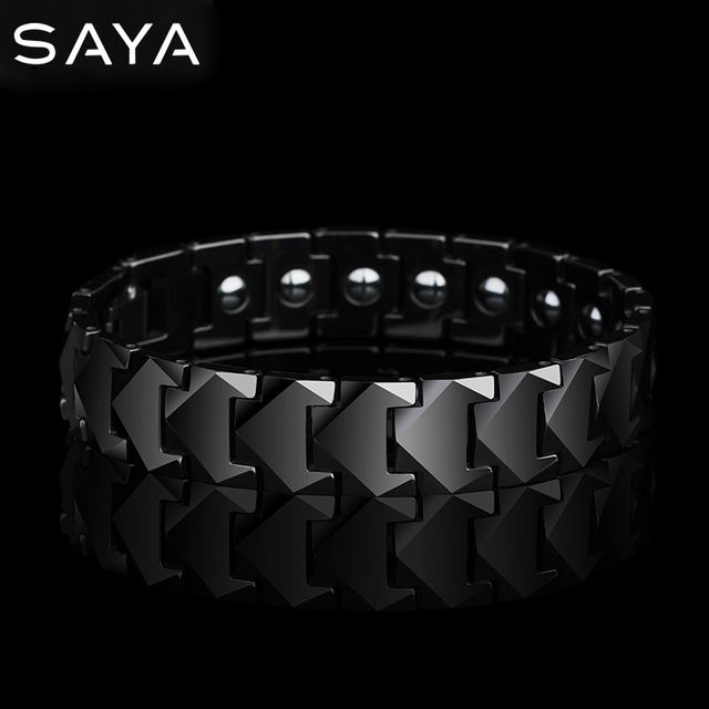 Tungsten Links Bracelets for Men High Polished Inlay Health Magnetic Stones Three Color, Free Shipping, Customized