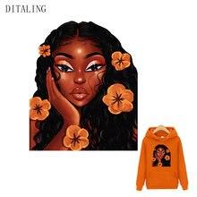 Güzel afrika kız yama çiçek kız Sticker demir giyim için transferler üzerinde a-seviye özel termo etiket ceket giyim