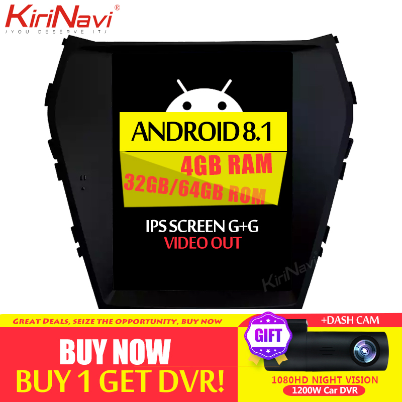 Kirinavi tela vertical tesla estilo android 8.1 rádio do carro navegação gps para hyundai ix45 santa fe carro dvd player multimídia 4g