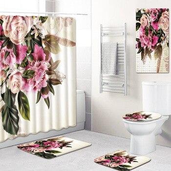 Alfombra de baño con estampado de flores de 5 piezas de cortina de ducha + juego de alfombrillas antideslizantes para Baño kicthen felpudo