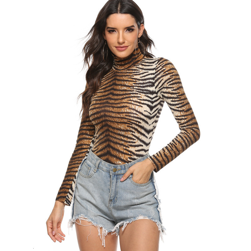 Tiger Striped Animal Print Turtleneck Bodysuit Women Long Sleeve Sexy Bodycon Woman Body Top Skinny Rompers Body Suit