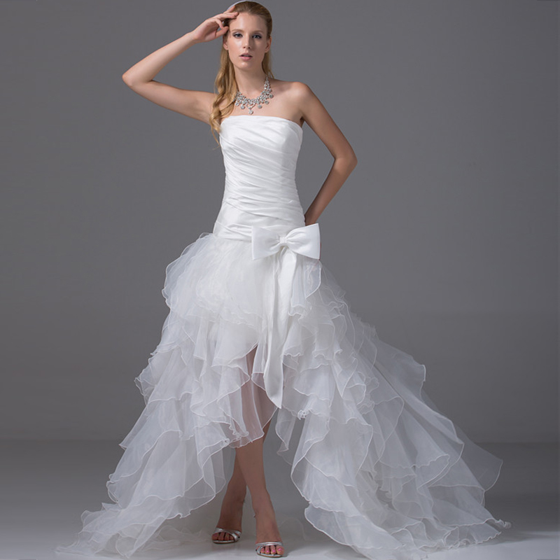 2020 Elegant Tube Topt High Low Long White Ivory Wedding Bow Dress Short Front Long Bridal Gown High Quality