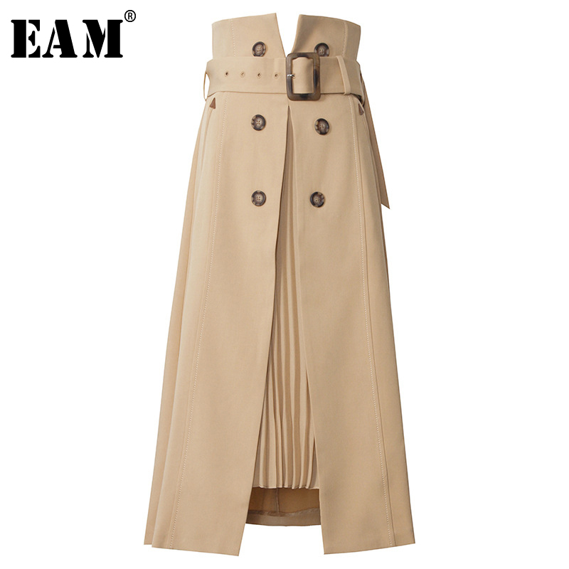 [EAM] High Waist Brown Bandage Asymmetrical Pleated Temperament Half-body Skirt Women Fashion Tide New Spring Autumn 2020 1S464