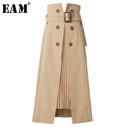 [EAM] High Waist Brown Bandage Asymmetrical Pleated Temperament Half-body Skirt Women Fashion Tide New Spring Autumn 2021 1S464