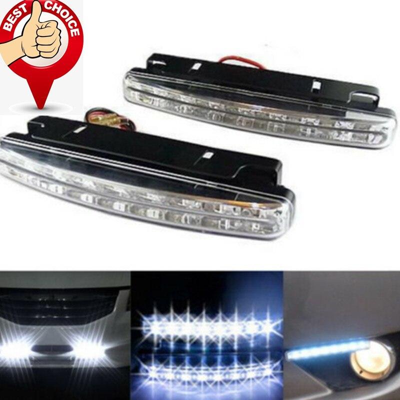 2Pcs auto Running Lights led DRL Fog Light car led light Super Bright Lamp DC 12V Waterproof 8 LEDs Daytime Car-styling