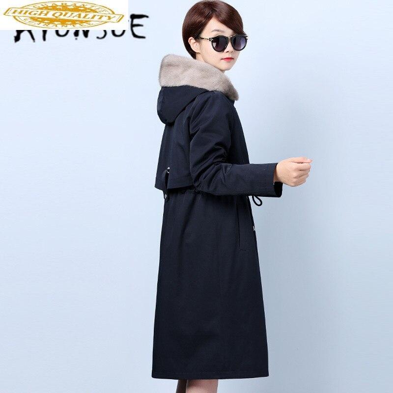 ATUNSUE Real Fur Coat Women Rabbit Fur Coat Winter Coat Women Mink Fur Collar Real Fur Parka Women Clothes 2020 NKZ1951 YY1435