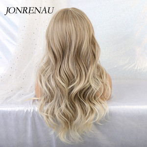 Image 3 - JONRENAU Synthetic Ombre Brown Mixed Blonde Wigs with Bangs Long Natural Wave Hair Party Wigs for White/Black Women