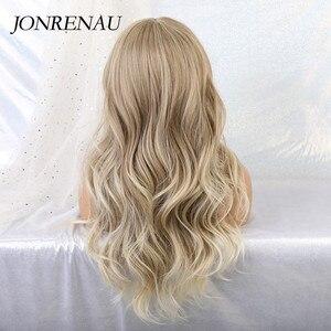 Image 3 - Jonrenau合成オンブル茶色の混合ブロンドかつら前髪ロング自然なウェーブヘアー白人/黒女性